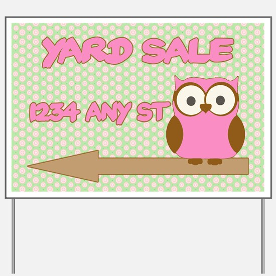 Pink and Green Owl Yard Sale Sign