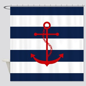 Red Anchor On Blue Stripes Shower Curtain