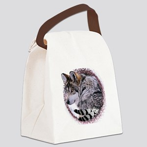 Lace Wolf Canvas Lunch Bag