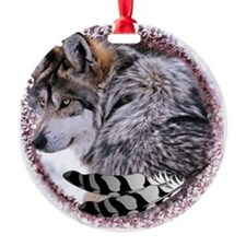 Lace Wolf Round Ornament