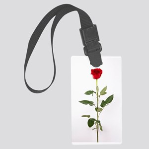 Single Red Long Stem Rose Large Luggage Tag