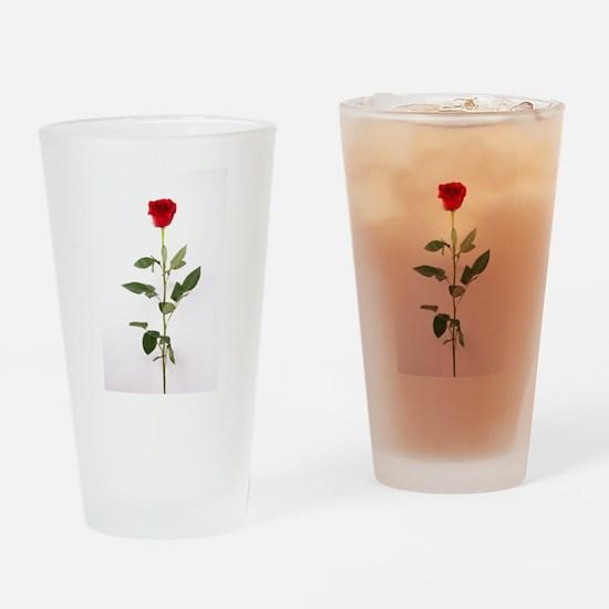 Single Red Long Stem Rose Drinking Glass