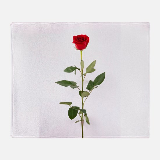 Single Red Long Stem Rose Throw Blanket