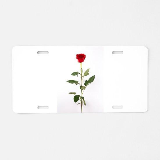 Single Red Long Stem Rose Aluminum License Plate