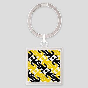 caution Square Keychain