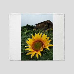 Farmhouse Sunflower Throw Blanket