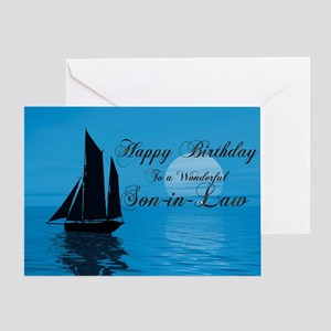 Birthday Card For Son In Law With Sunset Yacht Gre