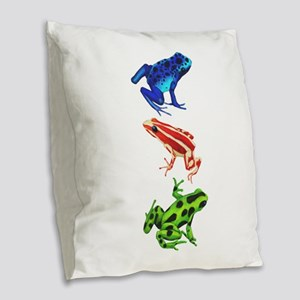Dart Frogs Burlap Throw Pillow