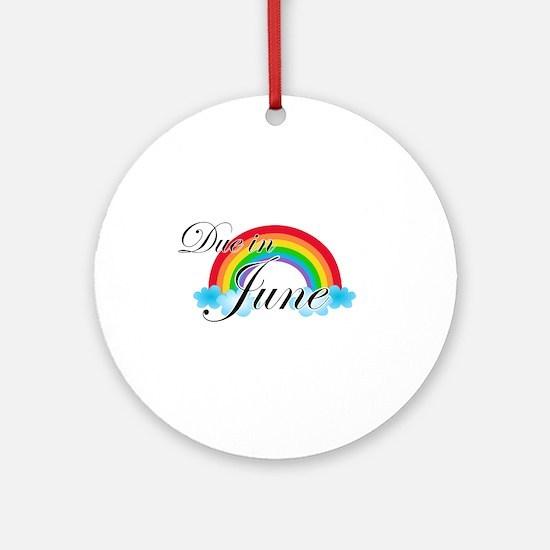 Due in June Rainbow Ornament (Round)