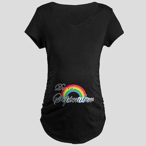 Due in September Rainbow Maternity Dark T-Shirt