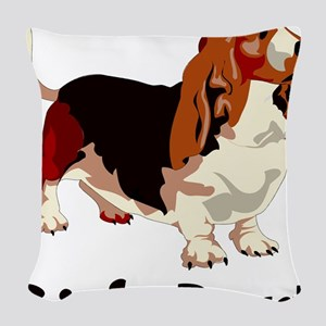 B is for Basset Woven Throw Pillow