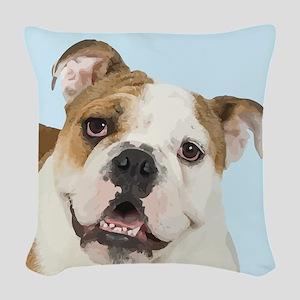 Blue Bulldog Woven Throw Pillow