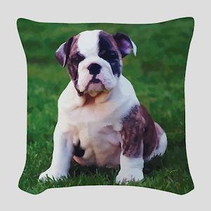 Cute Bulldog Woven Throw Pillow