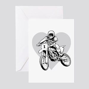 I love dirt biking with a heart Greeting Cards (Pa