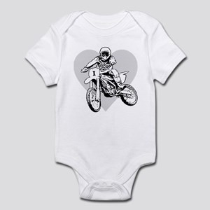 I love dirt biking with a heart Infant Bodysuit