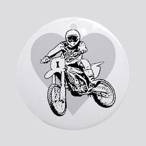 I love dirt biking with a heart Ornament (Round)