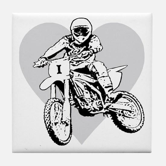 I love dirt biking with a heart Tile Coaster
