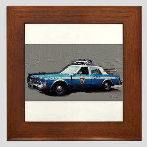 1980s police car, NYC Framed Tile