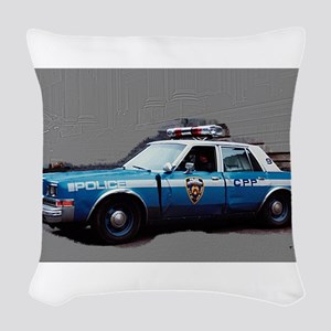1980s police car, NYC Woven Throw Pillow