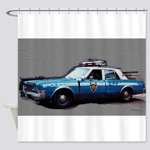 1980s police car, NYC Shower Curtain