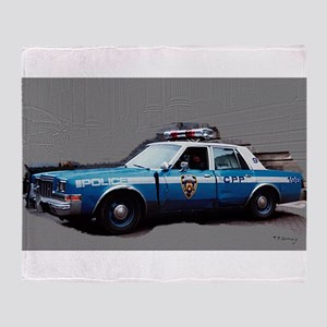 1980s police car, NYC Throw Blanket