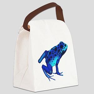 Blue Dart Frog Canvas Lunch Bag