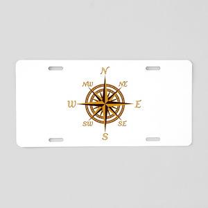 Vintage Compass Rose Aluminum License Plate