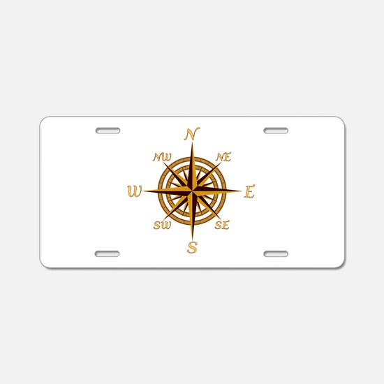 Vintage Compass Rose Aluminum License Plate