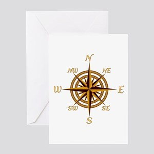 Vintage Compass Rose Greeting Card