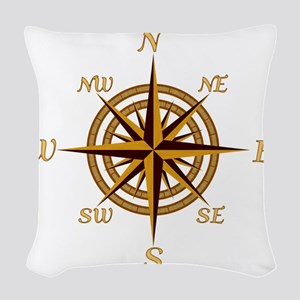 Vintage Compass Rose Woven Throw Pillow