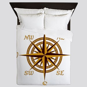 Vintage Compass Rose Queen Duvet
