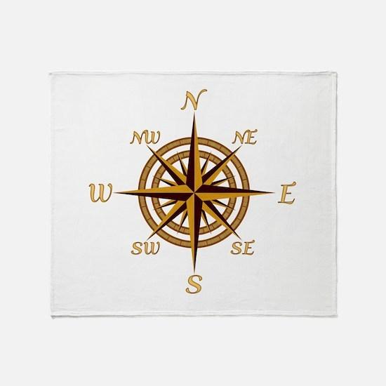 Vintage Compass Rose Throw Blanket