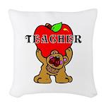 Teachers Apple Bear Woven Throw Pillow