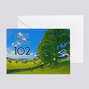 102nd Birthday card with landscape Greeting Card