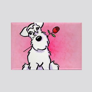 White Schnauzer Sweetheart Rectangle Magnet