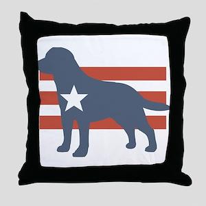 Patriotic Labrador Retriever Throw Pillow