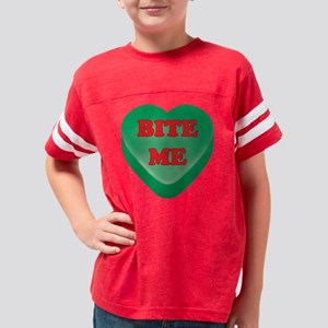 BiteMe_hrt_grn Youth Football Shirt