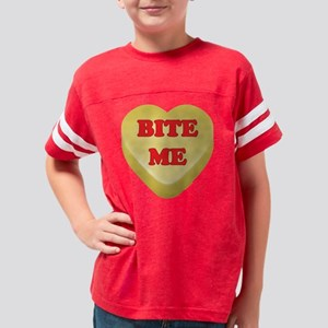 BiteMe_hrt_ylw Youth Football Shirt