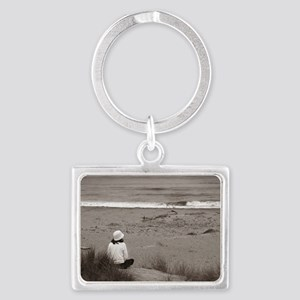 Watching The Ocean (bw) Landscape Keychain