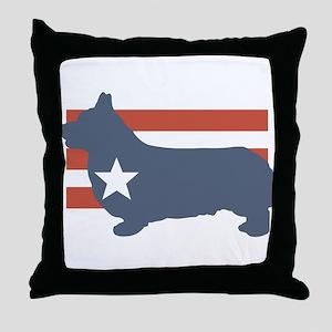 Patriotic Pembroke Welsh Corg Throw Pillow