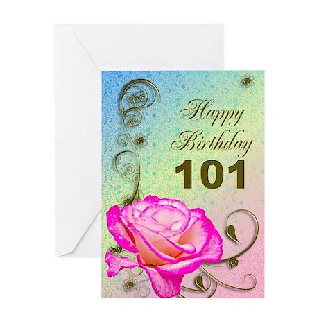 101st Birthday Elegant rose Greeting Card