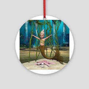 Little Mermaid Round Ornament