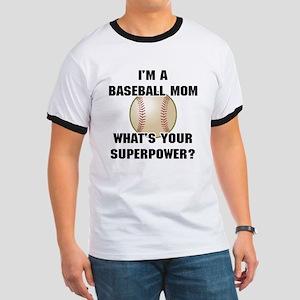 Baseball Mom Superhero Ringer T