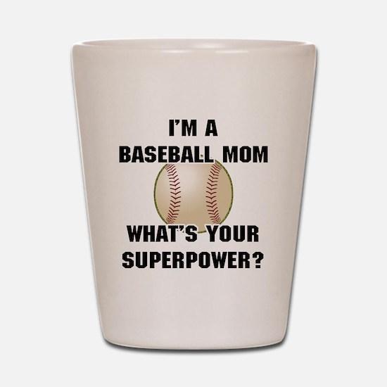 Baseball Mom Superhero Shot Glass