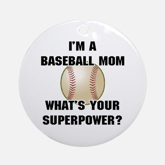 Baseball Mom Superhero Ornament (Round)