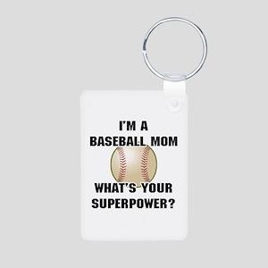 Baseball Mom Superhero Aluminum Photo Keychain