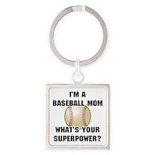 Baseball Mom Superhero Square Keychain