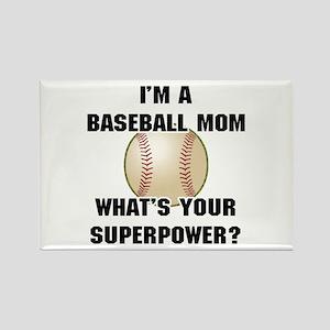 Baseball Mom Superhero Rectangle Magnet