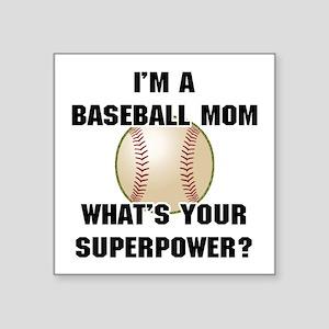 "Baseball Mom Superhero Square Sticker 3"" x 3"""