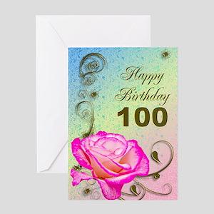 100th Birthday Elegant rose Greeting Card